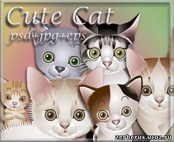 Забавные котята в векторе