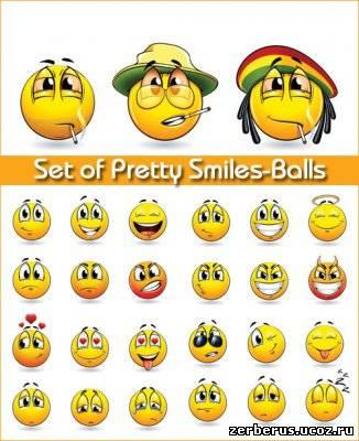 Набор смайликов / Set of Pretty Smiles