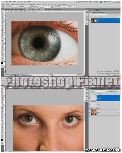 Correction of eyeballs in a photoshop